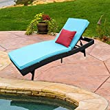 Do4U Adjustable Patio Outdoor Furniture Rattan Wicker Chaise Lounge Chair Sofa Couch Bed with Turquoise Cushion (5997-EXP-1 Pc)