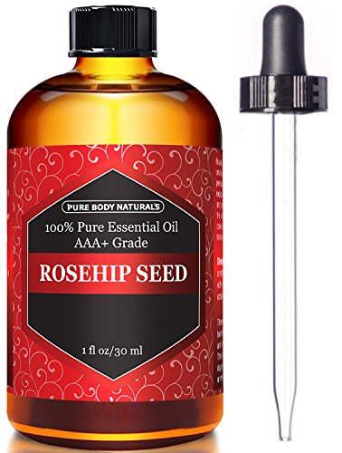 Pure Body Naturals Organic Cold Pressed Rosehip Seed Oil for Hair, Skin & Nails, 1 Fl. Oz.