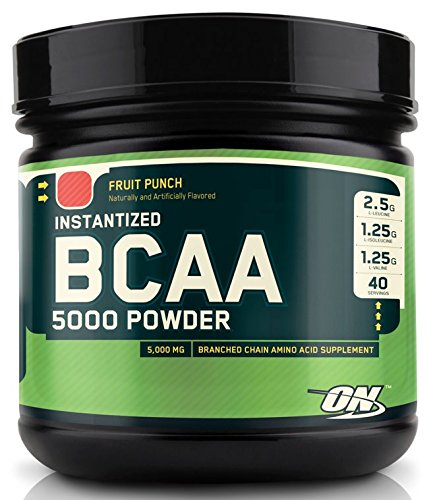 Optimum Nutrition BCAA 5000mg Powder, Fruit Punch, 40 Servin
