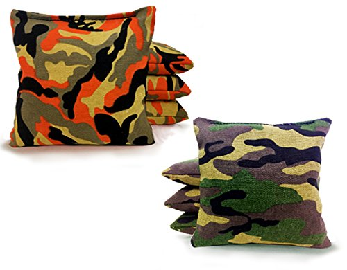Tailgating Pros Cornhole Bags - 8 Regulation Size Corn Hole Bags - 23+ Colors Options (Orange Camo/Green Camo) ()