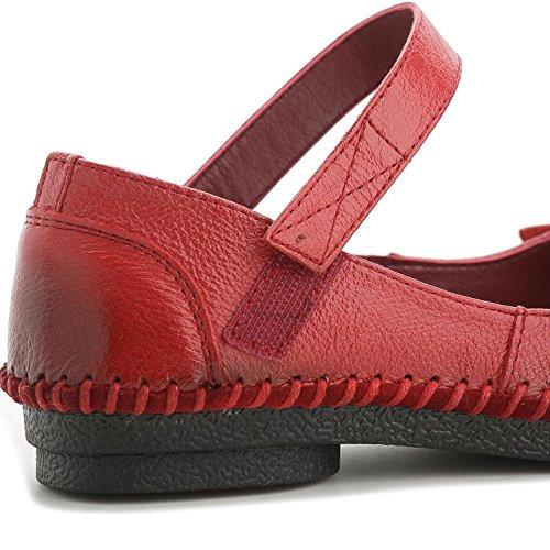 L@YC® Zapatos Planos De Las Mujeres De Cuero Hechas a Mano Sandalias Suaves Fondo De La Bomba De Raso De La Boda Fiesta De Oficina Red