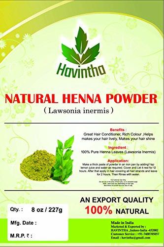 Natural Henna Powder for hair 8 oz,Product of Havintha,Natural Lawsonia Inermis, 227g ()