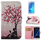 For Samsung Galaxy S7 Case and Card Holder,OYIME [Flower Tree and Girl] 3D Glitter Pattern Design Bookstyle Leather Wallet Holster with Wrist Lanyard Kickstand Function Full Body Protective Bumper Magnetic Closure Flip Cover with Screen Protector