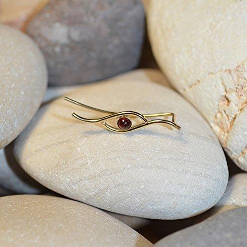 ER Gold // Garnet Bar Stud - Minimalist Earring - Garnet Ear Cuff - Post Earrings - Ear Sweep - Earcuff ()
