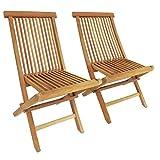 Charles Bentley Garden Pair Of Solid Wooden Teak Garden Outdoor Folding Chairs