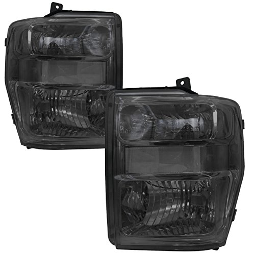 AJP Distributors Replacement Headlights For Ford F250 F350 F450 F550 Super Duty Truck (Smoke/Clear)