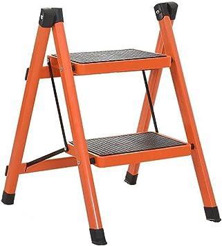 GBX Escalera Plegable, Pequeña Sala de Estar Plegable Taburete de Paso de Escalera para Adultos Hierro Cocina Escalera Plegable con Peldaños Antideslizantes Duradero,Naranja,2 Niveles: Amazon.es: Bricolaje y herramientas