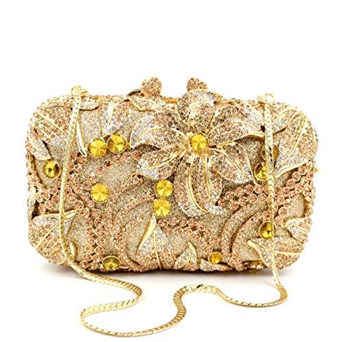 de dîner Sac Lily luxe de de de Golden creux métallique embrayage Sac strass Sac cristal de diamants Rqrdq0x