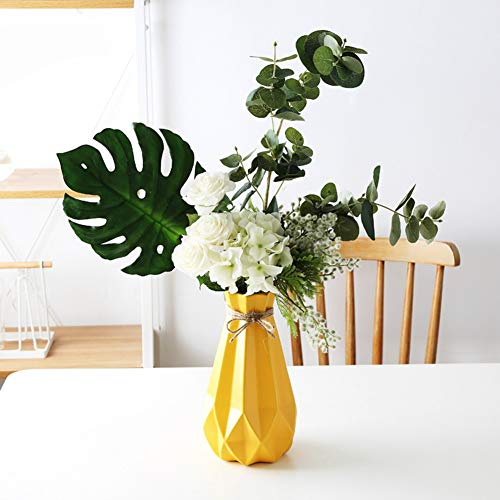zhengjun Ceramic Flower Vase Diamond Geometric Decor, Yellow Modern Minimalist Flower Pot for Wedding Living Room Home Decoration (Yellow, Medium) ()