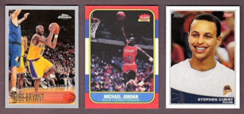 (Michael Jordan 1986, Kobe Bryant 1996, Stephen Curry 2009 ** (3) Card Basketball Rookie Reprint Lot (Bulls) (Lakers) (Warriors) )