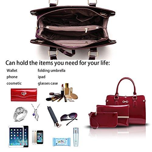 borsa borsa donne modo della delle Rosso modo a borsa Tisdaini Vino 2018 messaggero tracolla tre della del nuovo raccoglitore della delle Borsa donne di borsa di a pezzi AnRq6B
