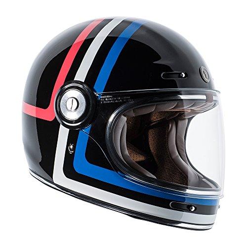 Amazon.com: TORC T1 Retro Fiberglass Full-Face-Helmet-Style Motorcycle Helmet with Graphic (Americana Tron Gloss Black,Medium), 1 Pack: Automotive