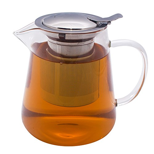 Zenco 32 Oz Borosilicate Glass Teapot Pitcher With Removable Stainless Steel Infuser and Flip Top Lid for Loose Leaf Tea, Blooming Tea, Cold Brew Tea, Iced Tea (Electric Teapot Personal compare prices)