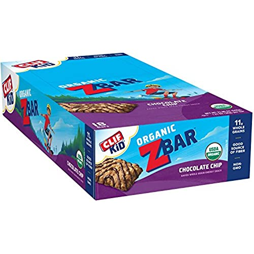 CLIF KID ZBAR   Organic Energy Bar   Chocolate Chip   (1.27 Ounce Snack Bar,  18 Count)