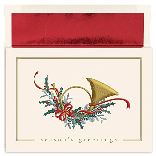 Masterpiece Holiday Collection 16-Count Christmas Cards with Foil Lined Envelopes, French Horn - Great Papers Masterpiece Studios