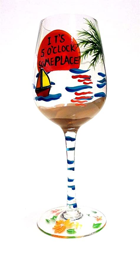 Tropical Beach Themed Wine Glass Its 5 Oclock Someplace