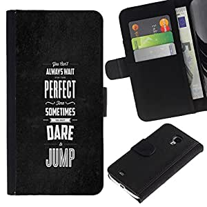 NEECELL GIFT forCITY // Billetera de cuero Caso Cubierta de protección Carcasa / Leather Wallet Case for Samsung Galaxy S4 Mini i9190 // Perfecto veces se atreven saltar