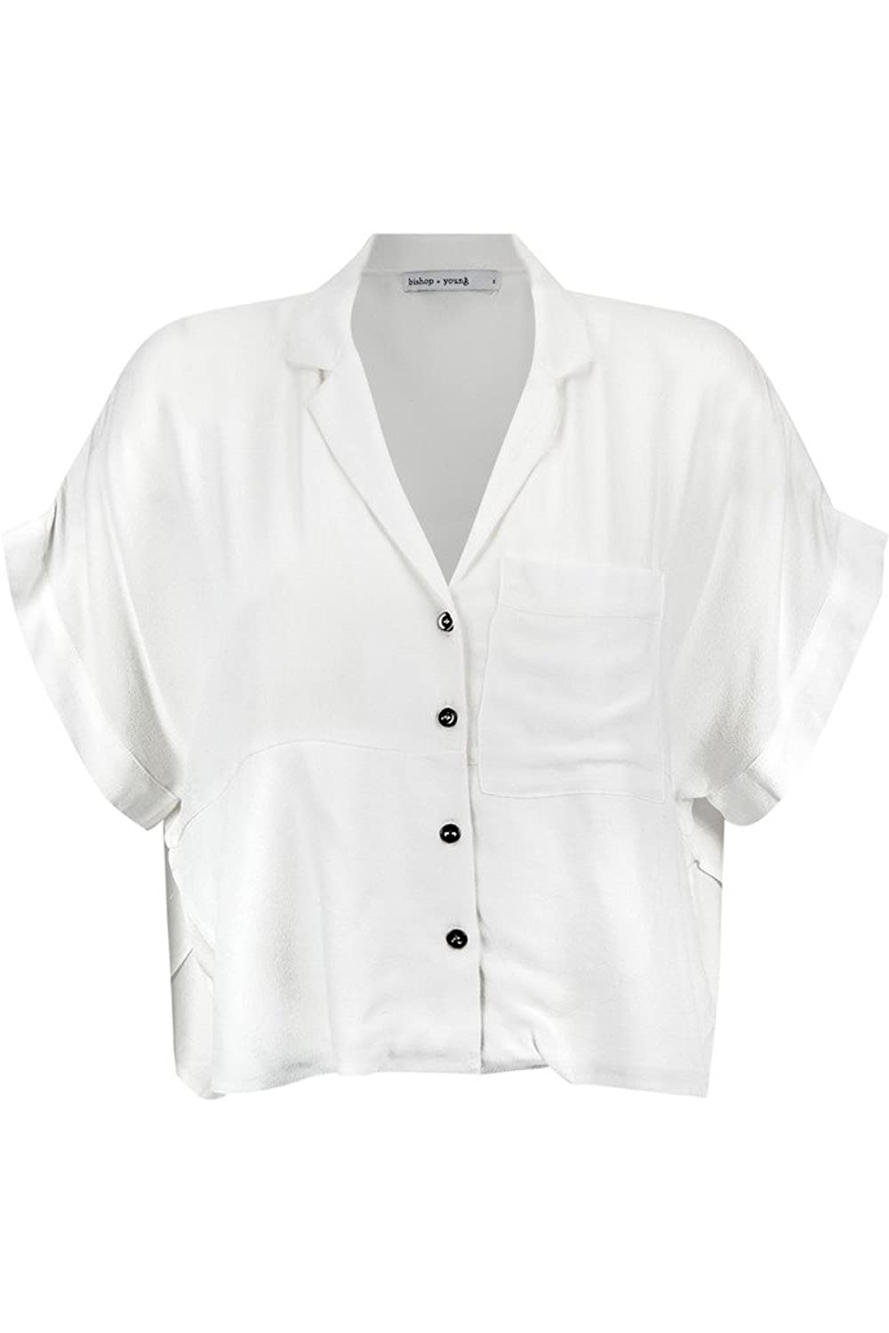 Bishop + Young Womens Button Down Crop With Pocket