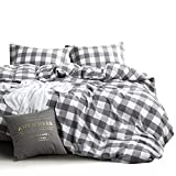 White King Size Duvet Cover Wake In Cloud - Washed Cotton Duvet Cover Set, Buffalo Check Gingham Plaid Geometric Checker Pattern Printed in Gray Grey and White, 100% Cotton Bedding, with Zipper Closure (3pcs, King Size)