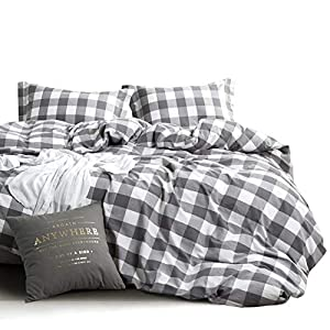 Wake In Cloud - Washed Cotton Duvet Cover Set, Buffalo Check Gingham Plaid Geometric Checker Pattern Printed in Gray Grey and White, 100% Cotton Bedding (3pcs, California King Size)