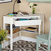 Contemporary Corner Computer Desk With Storage Drawer - Small Study Student Writing Table With Lower Shelf - Sturdy Engineered Wood Construction (Antique White)