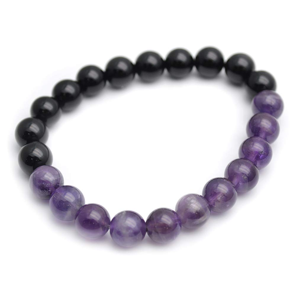 Buty-Bzi Mix Natural Amethyst and Black Onyx Agate 8mm Stone Round Beads Stretch Bracelet YY DSC13-0572