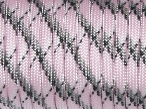 YOUGLE 550 Paracord Parachute Cord Lanyard Rope 7 Strands Cores Mil Spec Type III 100 Ft 72 Colors (34.Pink Camo)
