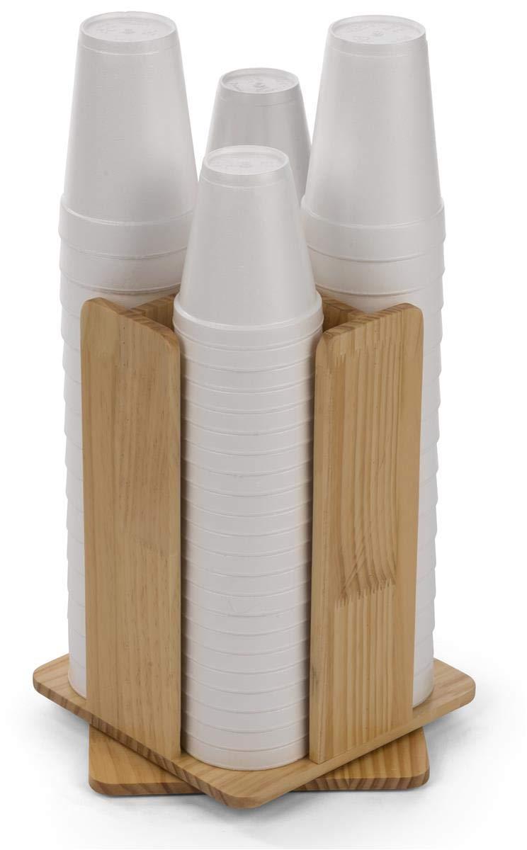 Displays2go Revolving Cup & Lid Organizer, 4 Compartments - Pine (FSWDCOREV4)