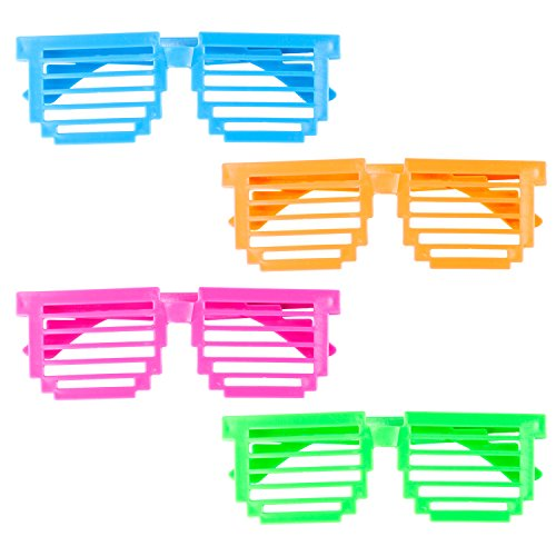 Plastic Color Assorted Square Shutter 80s Disco Retro Style Children Unisex Glasses Shades Eye Wear for Party Prop Favors, Decorations, Toy Gifts, Costumes (24 Pairs) -