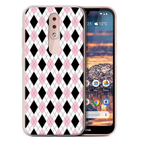 (eSwish Gel TPU Phone Case/Cover for Nokia 4.2 2019 / Pink Argyle Design/Winter Fashion Collection)