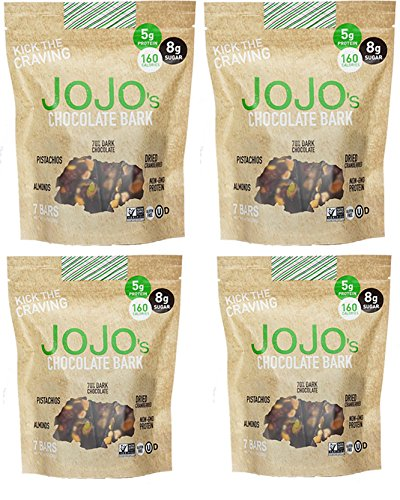 - JOJO's Guilt Free Dark Chocolate Bark With All Natural Protein Raw Nuts and Cranberries, NON-GMO, Gluten Free, Paleo Friendly, 1.2 Ounce Bars, 28 Count(One Month Supply- 33 oz)