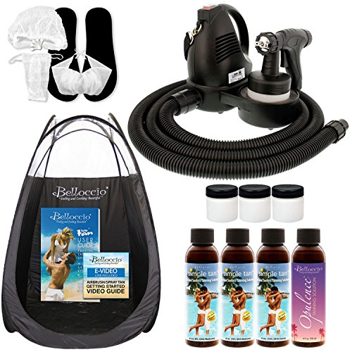 Complete Belloccio Premium (Model T75) Professional Sunless HVLP Turbine Spray Tanning System; Pint Simple Tan 8% DHA Solution, 4 Solution Variety Pack, Tent, Cups, Acc. & Video Link (Tanning System)