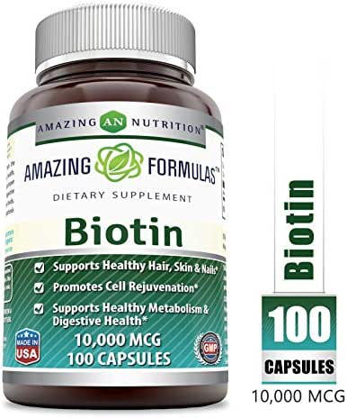 Amazing Formulas Biotin Supplement - 10,000mcg - 100 Capsules - Supports Healthy Hair, Skin & Nails - Promotes Cell Rejuvenation