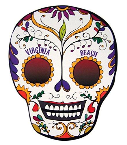 (Virginia Beach Souvenir Sugar Skull Magnetic Decal for Car, Locker, Classroom, or Fridge, 5 1/4)