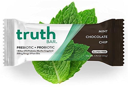 Truth Bar (Prebiotic + Probiotic) - Mint Chocolate Chip (12 Pack) - Low Sugar, High Fiber, 10g Protein, Gluten Free, Non-GMO, Soy Free, Kosher, Nutrition Snack Bar with Premium Dark (Calories Dark Chocolate Chips)