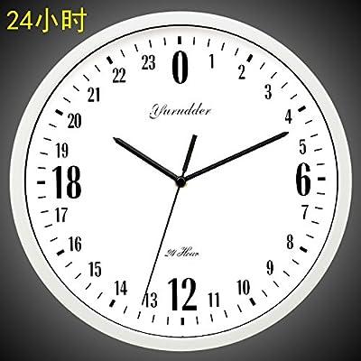 Y-Hui The 12-Inch Clock Round Metal 24 Hour Quartz Clocks Wall Clock In The Living Room, 12 Inch, White Box White
