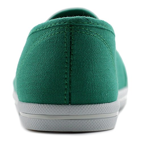 Ollio Sneakers Slip On Green Casual Womens Flats Shoes Canvas rPqZrp