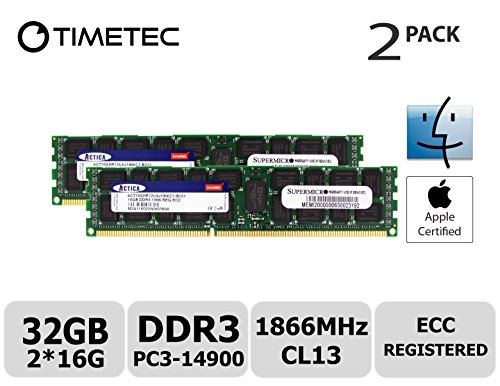 Timetec Supermicro Apple 32GB Kit (2x16GB) DDR3 1866MHz PC3-14900 Registered ECC RDIMM Server Memory RAM Module Upgrade for Mac Pro Late 2013 A1481 MQGG2LL/A MD878LL/A ME253LL/A (32GB Kit (2x16GB))