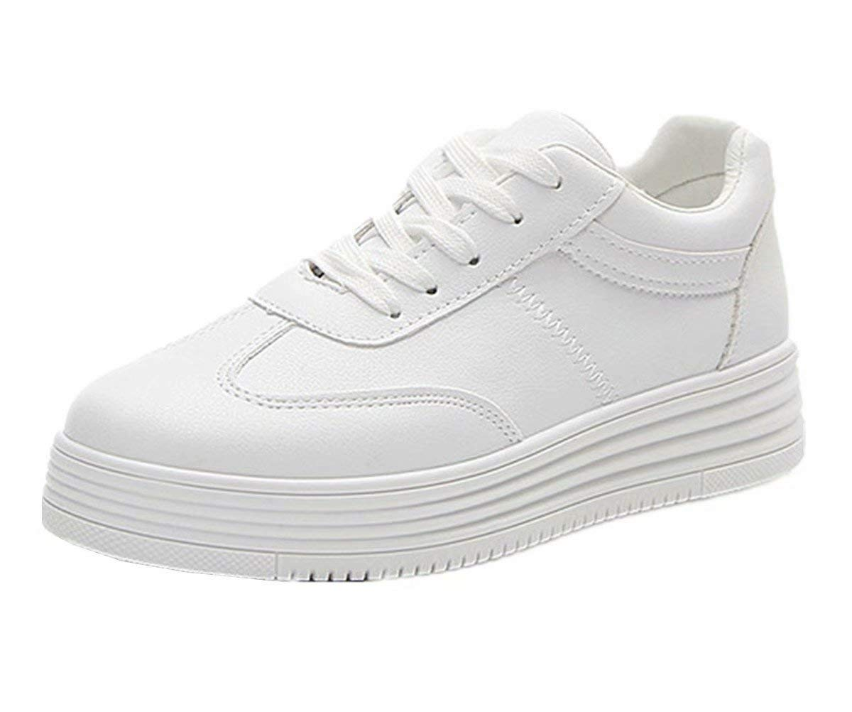 ANBOVER Womens Classic Sneakers Breathable White Shoes Walking Sport Street Shoes White 37