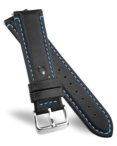 DURA STRAPS Leather Watch Bands With Elegant Blue Stitching 24mm, Waterproof Replacement Watches Straps for Men and Women ()