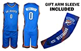 Fan Kitbag Westbrook Jersey Kids Basketball Blue Westbrook Jersey & Shorts Youth Gift Set ✓ Basketball Compression Shooter Arm Sleeve ✓ Premium Quality (YM 8-10 Years, Westbrook Jersey Gift Set)