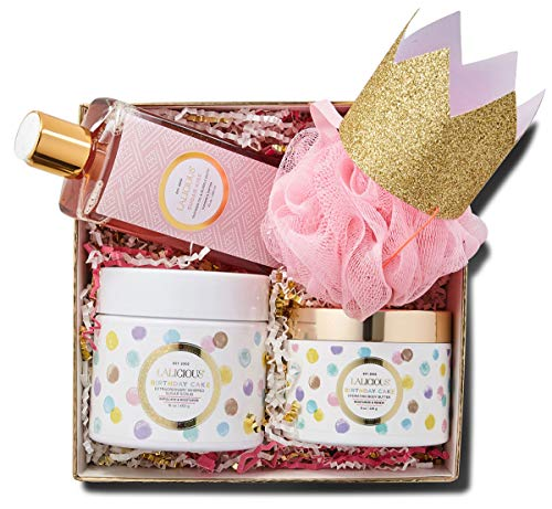 LALICIOUS Celebration Box - Birthday Cake Body Butter, Birthday Cake Sugar Scrub, Sugar Kiss Shower Oil & More, Perfect Gift for Any Occasion (4 Piece Set)