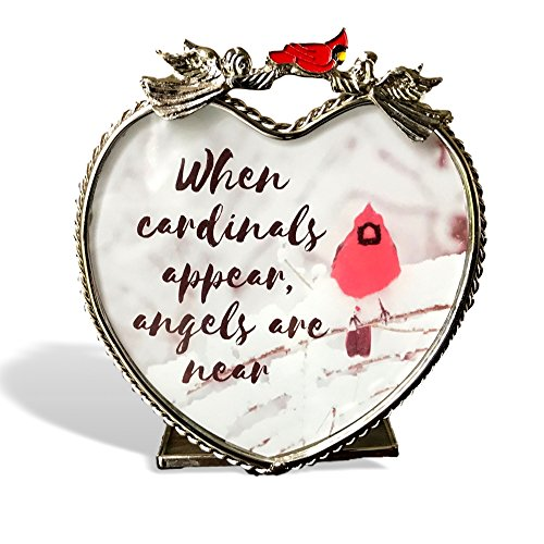 Memorial Candle Holder - When Cardinals Appear, Angels are Near - Red Cardinal in Snowy Winter Scene Printed on Heart Shaped Glass Candle Holder - Glass Angels Candle Holder