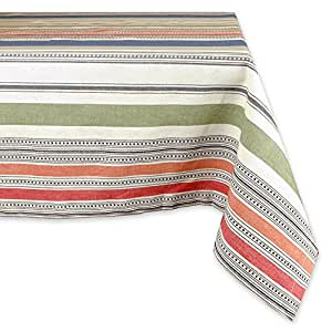 "DII 100% Cotton, Machine Washable, Dinner, Summer & Picnic Tablecloth, 60 x 84"", Warm Stripe, Seats 6 to 8 People"