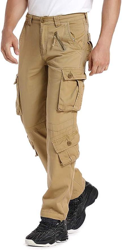 Image ofJessie Kidden Hombres Suelto Algodón Pantalones Cargo con 8bolsillos # 7533