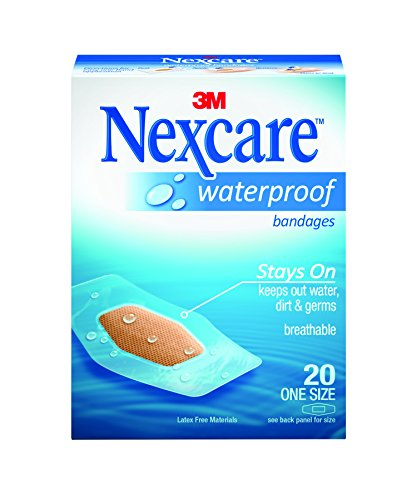 Nexcare Waterproof Clear Bandages, One Size, 20 Count