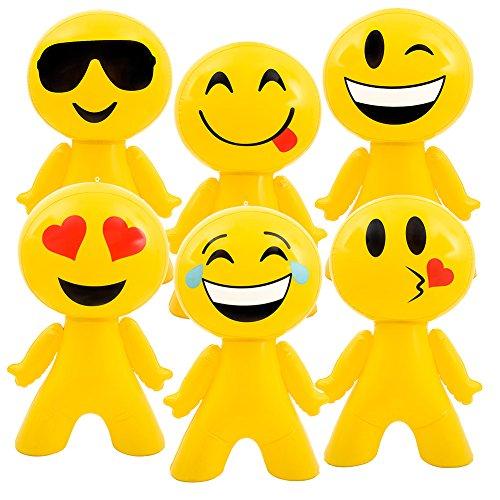 BlockBuster Costumes Custom Bundle 6 Pack of 27 Inflatable Emoji Emote Emoticon Face Men Decoration ()