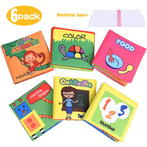 XREXS Nontoxic Fabric Baby Soft Books,Colorful Activity Crinkle Baby Cloth Book for Kids,Friction with a rustling Sound,First Books for Infants Boys and Girls,Early Education Toys
