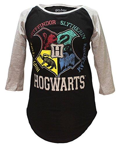 Harry Potter Hogwarts Raglan Athletic Tee Shirt (Medium)