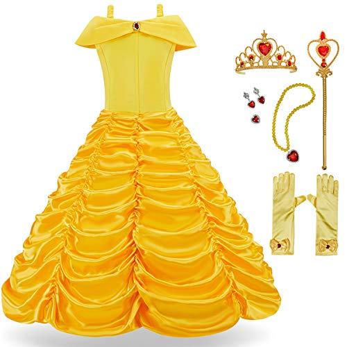 Belle And The Beast Halloween Costumes (FUNNA Princess Costume Dress for Girls Toddler Dress Up with Accessories, Yellow,)